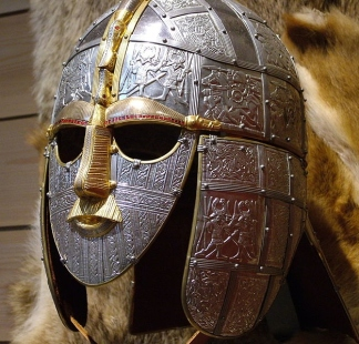 Replica of the Anglo-Saxon helmet found in the Sutton Hoo burial site.